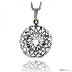 Sterling Silver Medal Heart Pendant, 1 1/16 in tall