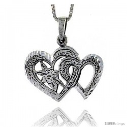 Sterling Silver Double Heart Pendant, 7/8 in tall