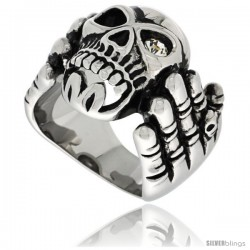 Surgical Steel Biker Ring Skeleton Hand Holding a Skull w/ One White CZ Eye