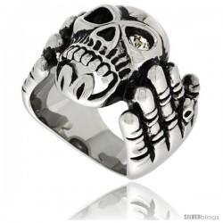 Surgical Steel Biker Ring Skeleton Hand Holding a Skull w/ One White CZ Eye
