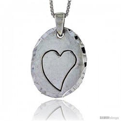 Sterling Silver Disk with Engraved Heart, 1 in tall