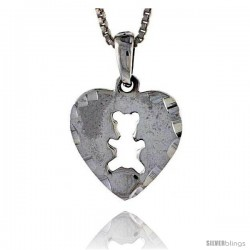 Sterling Silver Heart Disk with Teddy Bear Cut-out, 3/4 in tall