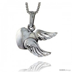 Sterling Silver Heart with Wings Pendant, 1/2 in tall