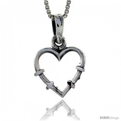 Sterling Silver Cut-out Heart Pendant, 5/8 in tall -Style Pa363