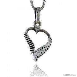 Sterling Silver Cut-out Heart Pendant, 3/4 in tall
