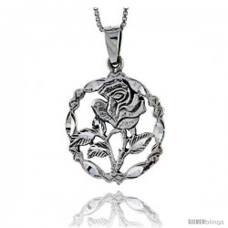 Sterling Silver Rose Flower Pendant, 1 1/8 in tall