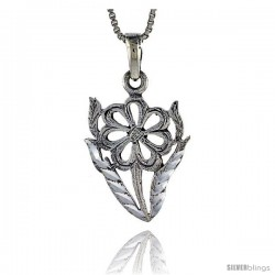 Sterling Silver Flower Pendant, 1 in tall