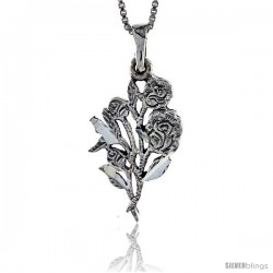 Sterling Silver Rose Bouquet Pendant, 1 in tall