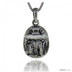 Sterling Silver Egyptian Scarab Pendant, 3/4 in long