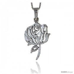 Sterling Silver Rose Flower Pendant, 1 1/4 in tall