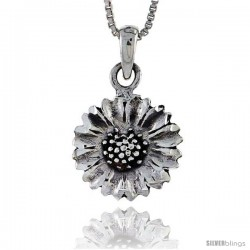 Sterling Silver Sunflower Pendant, 3/4 in tall