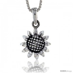 Sterling Silver Sunflower Pendant, 3/4 in tall -Style Pa372