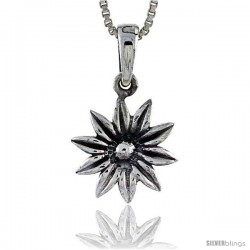 Sterling Silver Daisy Pendant, 5/8 in tall