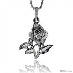 Sterling Silver Rose Flower Pendant, 1 in tall
