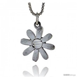 Sterling Silver Flower Pendant, 5/8 in tall