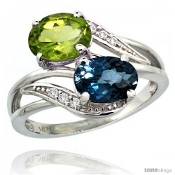 14k White Gold ( 8x6 mm ) Double Stone Engagement London Blue Topaz & Peridot Ring w/ 0.07 Carat Brilliant Cut Diamonds & 2.34