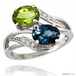 14k White Gold ( 8x6 mm ) Double Stone Engagement London Blue Topaz & Peridot Ring w/ 0.07 Carat Brilliant Cut Diamonds & 2.34