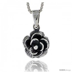Sterling Silver Flower Pendant, 1/2 in 5/8 in . -Style Pa379