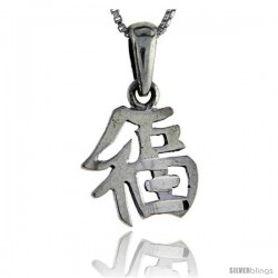 Sterling Silver Chinese Character for good Luck Pendant, 3/4 in long