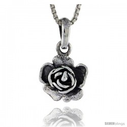 Sterling Silver Flower Pendant, 1/2 in tall -Style Pa380