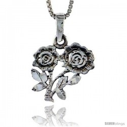 Sterling Silver Flower Pendant, 3/4 in tall