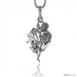 Sterling Silver Flower Pendant, 1 in tall -Style Pa383