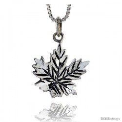 Sterling Silver Leaf Pendant, 3/4 in tall -Style Pa384