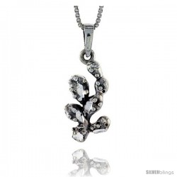 Sterling Silver Cactus Pendant, 7/8 in tall -Style Pa385
