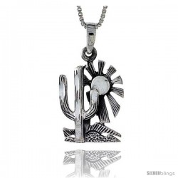 Sterling Silver Arizona Desert Pendant, 1 in tall