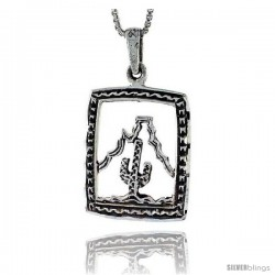 Sterling Silver Arizona Scenery Pendant, 1 in tall