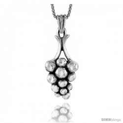 Sterling Silver Grape Cluster Pendant, 1 in tall