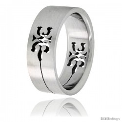Surgical Steel Tribal Gecko Ring 8mm Wedding Band -Style Rss51