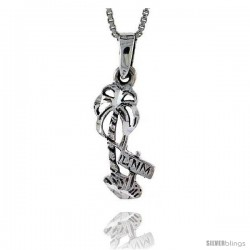 Sterling Silver Palm Tree Pendant, 3/4 in tall -Style Pa394