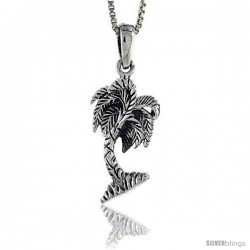 Sterling Silver Palm Tree Pendant, 1 in tall