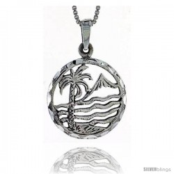 Sterling Silver Palm Tree Pendant, 7/8 in tall