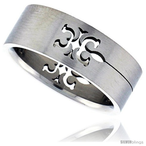 surgical steel tribal gecko ring 8mm wedding band style