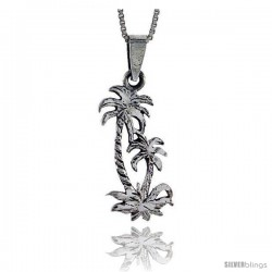 Sterling Silver Palm Tree Pendant, 1 1/8 in tall