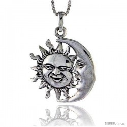 Sterling Silver Sun and Moon Pendant, 1 1/8 in tall