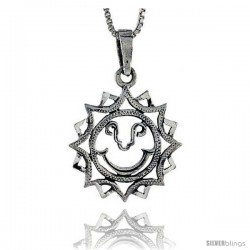 Sterling Silver Cut-out Sun Pendant, 1 in tall