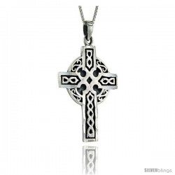 Sterling Silver Celtic Cross Pendant, 1 3/4 in long