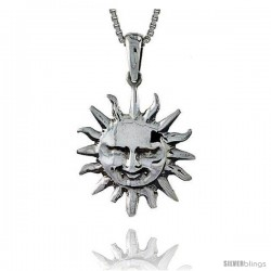 Sterling Silver Sun Pendant, 1 in tall
