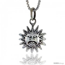 Sterling Silver Sun Pendant, 5/8 in tall -Style Pa401