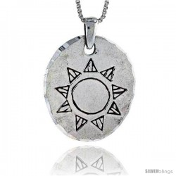 Sterling Silver Disk with Engraved Sun Pendant, 1 1/8 in tall