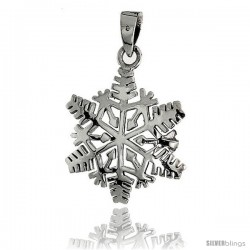 Sterling Silver Snowflake Pendant, 1 in tall