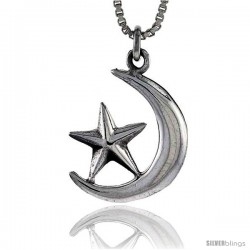 Sterling Silver Moon and Star Pendant, 3/4 in tall