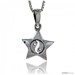 Sterling Silver Star with Yin and yang Pendant, 5/8 in tall