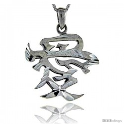Sterling Silver Chinese Character for Love Pendant, 1 in long