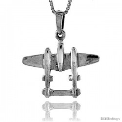 Sterling Silver Lockheed P-38 Lightning Airplane Pendant, 1 1/16 in tall