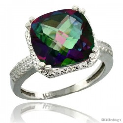 14k White Gold Diamond Mystic Topaz Ring 5.94 ct Checkerboard Cushion 11 mm Stone 1/2 in wide