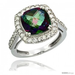14k White Gold Diamond Halo Mystic Topaz Ring Checkerboard Cushion 9 mm 2.4 ct 1/2 in wide